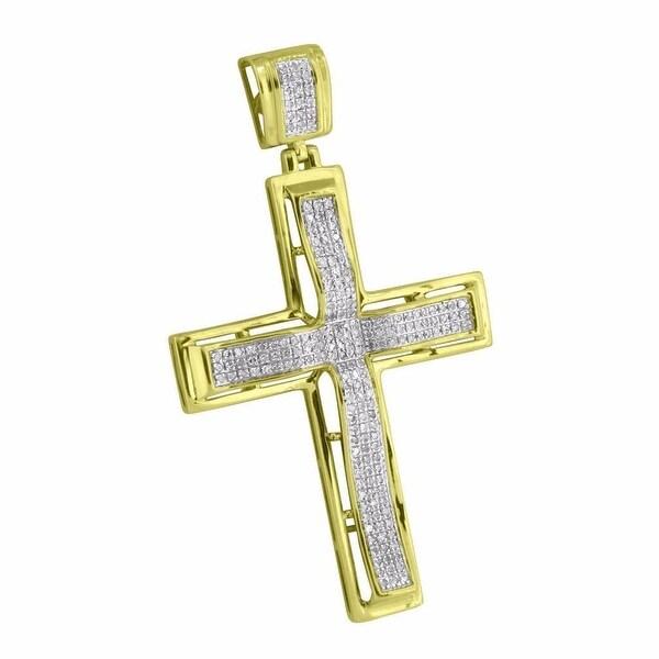 Jesus Cross Crucifix Pendant 10k Yellow Gold Genuine Diamonds Hip Hop Micro Pave