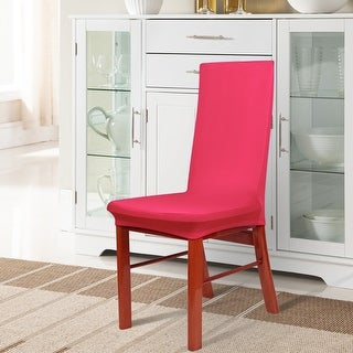Unique Bargains Fuchsia Spandex Stretch Washable Dining Chair Cover Protector