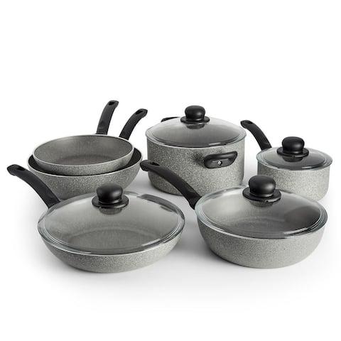 Ballarini Asti Aluminum 10-pc Nonstick Cookware Set - Granite