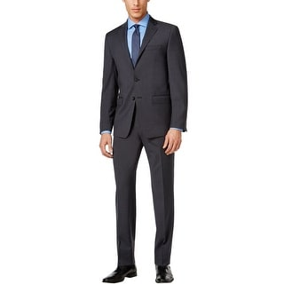 Calvin Klein Extreme Slim Fit Charcoal Plaid Suit 36 Regular 36R Pants 29W