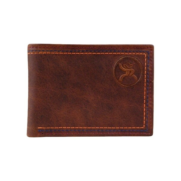 HOOey Western Wallet Men Roughy Signature Slits Bifold Brown - 4 x 3/4 x 3