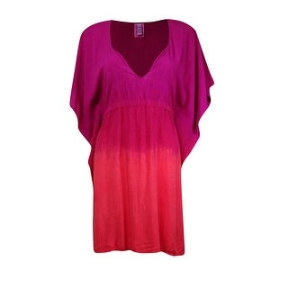 Becca by Rebecca Virtue Women's V-Neck Tunic Poncho Cover (XS/S, Fuchsia/Papaya) - fuchsia/papaya - XS/S