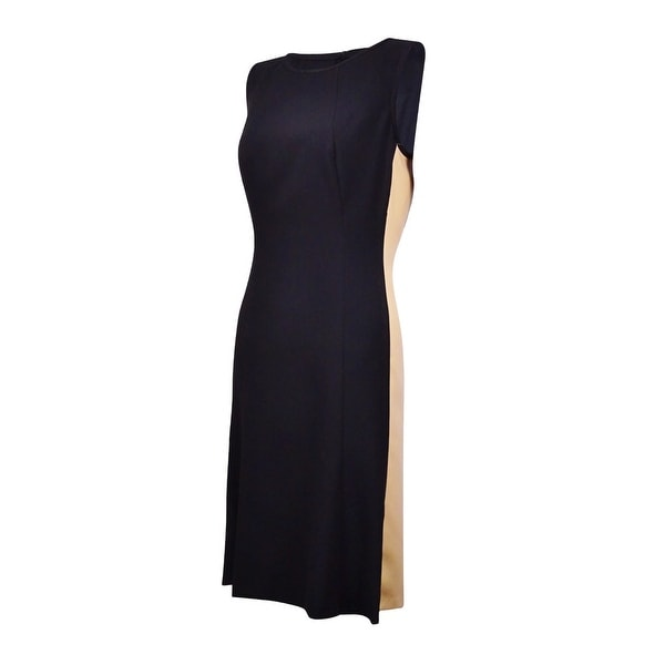 Lauren Ralph Lauren Women's Pleather-Sides A-Line Dress - Black/nude