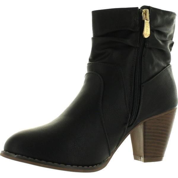 Anna Mel-10 Women's Western Style Slouch Chunky Heel Side Zipper Ankle Bootie - Black