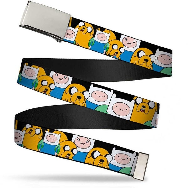 "Blank Chrome 1.0"" Buckle Finn & Jake Close Up Webbing Web Belt 1.0"" Wide - S"