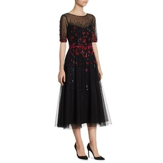 Teri Jon Embellished Tulle Short Sleeve Midi Cocktail Evening Dress Black