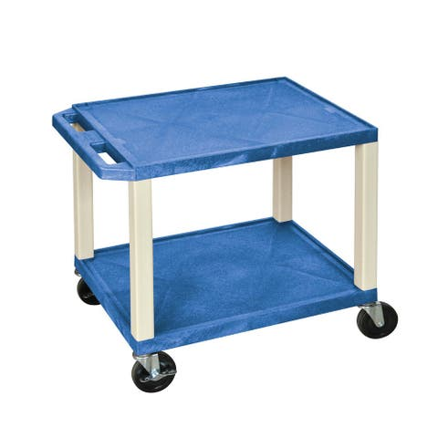 Offex Blue with Putty Legs 26-inch Two Shelves A/V Cart