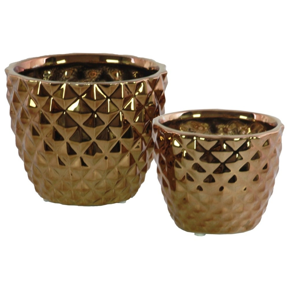 Round Ceramic Vase With Engraved Diamond Design , Set Of 2, Copper