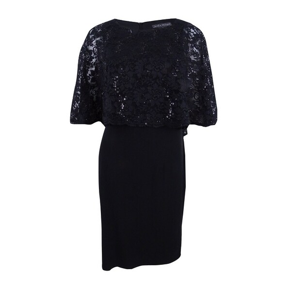 fdcbfb841132 Shop Jessica Howard Women's Lace Capelet Sheath Dress - Black - On Sale -  Free Shipping Today - Overstock - 21474508
