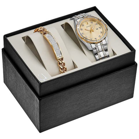 Bulova Men's 98K106 Two-Tone Stainless Crystal Accent Watch + Bracelet Gift Box Set