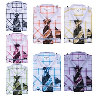Men's Spread Collar Check French Cuff Shirt Cufflinks (More options available)