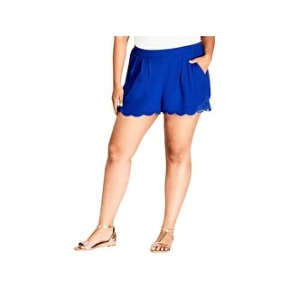 City Chic Womens Plus Casual Shorts Crepe Lace-Trim - cobalt - 18