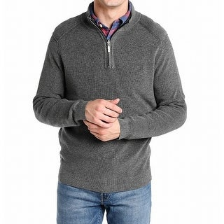 Tommy Bahama Gray Mens Size XL Reversible Quarter Zip Sweater