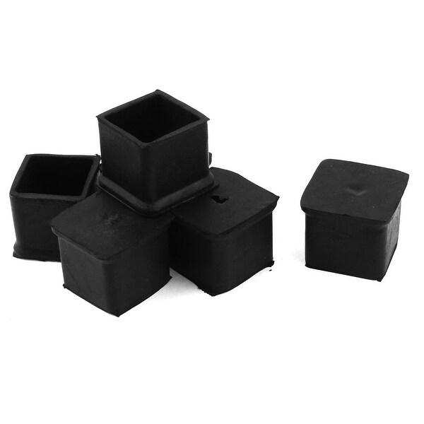 Unique Bargains 6 Pcs Antislip Rubber Square 30mm x 30mm Chair Foot Cover Table Furniture Leg Protector Balck