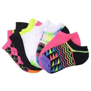 Everlast Women Multicolor Print Assorted 7 Pair Low Cut Ankle Socks 9-11 women