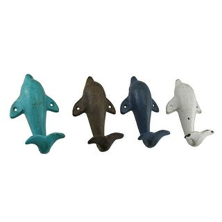 4 Piece Distressed Finish Cast Iron Dolphin Wall Hook Set Coastal Colors - 6.25 X 3.5 X 2 inches