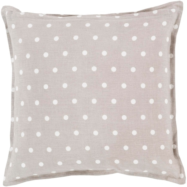 "22"" Light Gray and White Polka Dot Daze Decorative Square Throw Pillow - Down Filler"