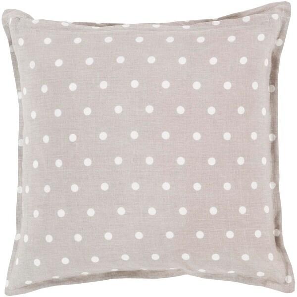 "22"" Light Gray and White Polka Dot Daze Decorative Square Throw Pillow"
