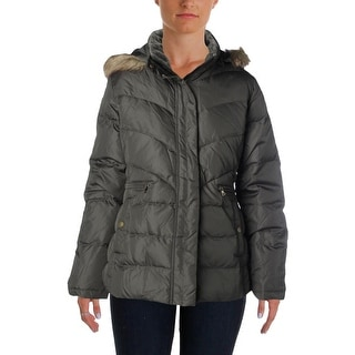 Larry Levine Womens Quilted Down Filled Puffer Coat - L