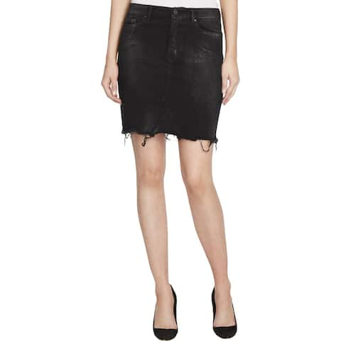 William Rast Womens Denim Skirt Metallic Denim