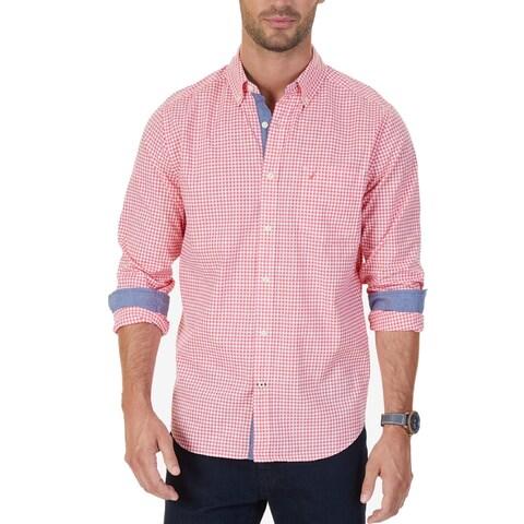 Nautica Red White Mens Size Large L Check Print Button Down Shirt