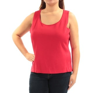 Womens Red Sleeveless Scoop Neck Casual Sweater Size XL