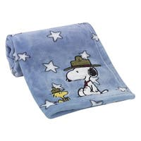 Lambs & Ivy Snoopy's™ Campout with Woodstock Blue Stars Baby Blanket