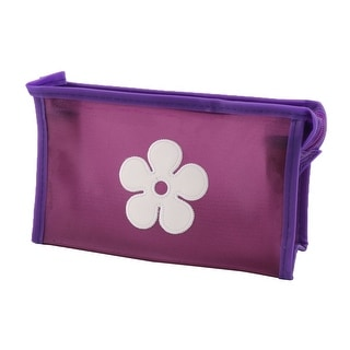 Traveling Polyester Flower Pattern Single Layer Cosmetic Container Bag Purple