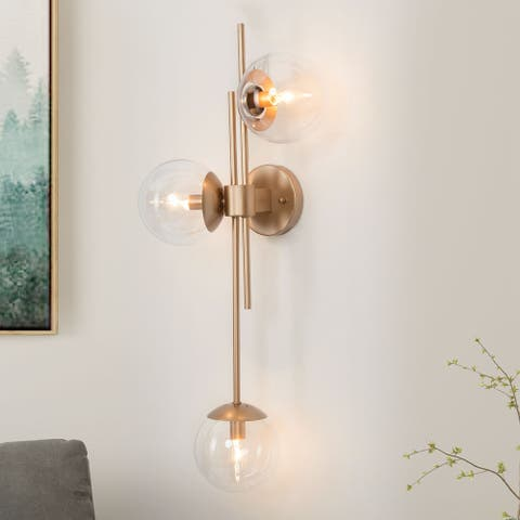 "3-Light Modern Gold Vanity Wall Sconces Globe Clear Glass Shade Wall Lamp - L30.5""xW8""xH12.2"""