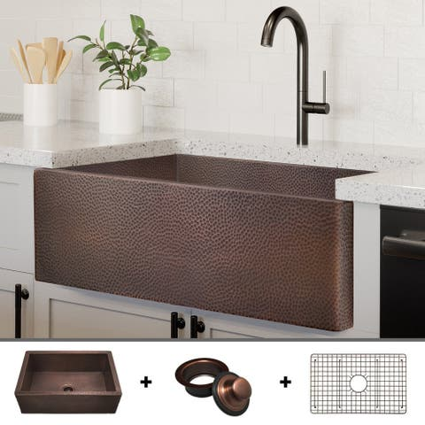 """Heavy 12-GAUGE Luxury 30-Inch Copper Farmhouse Sink (48 LBS of Pure Copper), Includes Grid and Flange, by Fossil Blu - 30"""" x 22"""""""