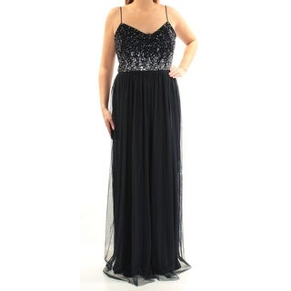 Womens Navy Spaghetti Strap FullLength Fit + Flare Prom Dress Size: 14