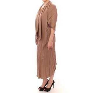 Lamberto Petri Brown Draped Silk Sheath Shift Coctail Dress