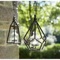 "Set of 2 Geometric Metal Hanging Glass Bottle Tea Light Holders 10.5"""