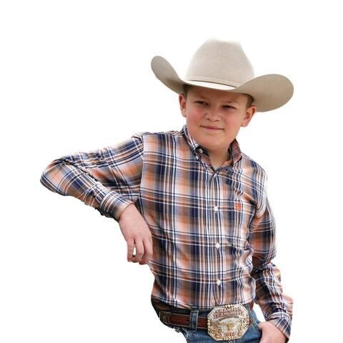 Cinch Western Shirt Boys Long Sleeve Plaid Button Front - Multi-Color