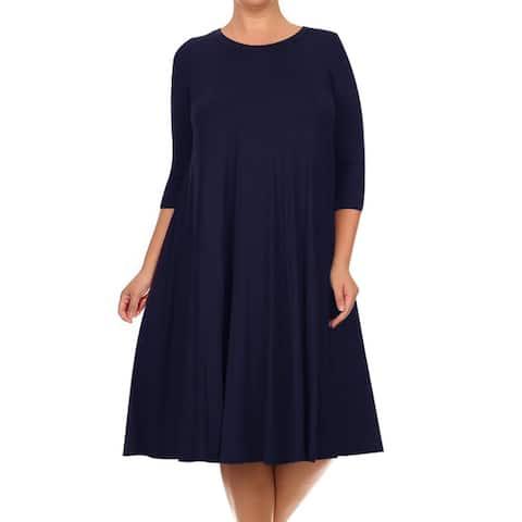 Women's Solid Plus Size Casual Midi Dress