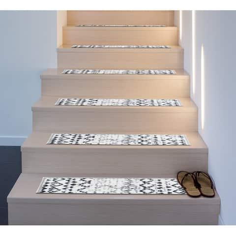 Distressed Bohemian Non-Slip Stair Treads
