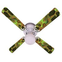 Green Camouflage Print Blades 42in Ceiling Fan Light Kit - Multi
