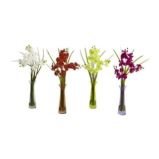 Nearly Natural Mini Phal with Colored Vase Arrangement - Set of 4