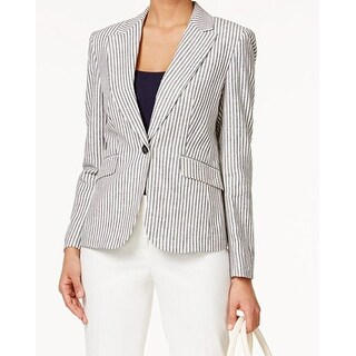 Nine West NEW Blue Womens Size 8 Striped One Button Linen Blazer