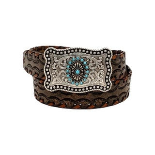 Ariat Western Belt Womens Lacing Rectangle Rope Choc Brown