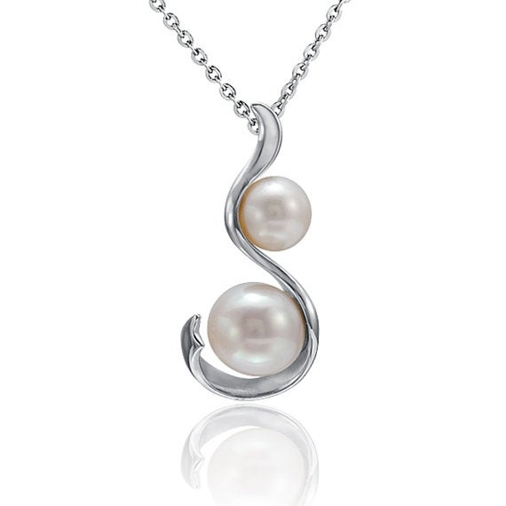 "Hourglass Pearl Necklace Sterling Silver Pendant 18"" Chain"