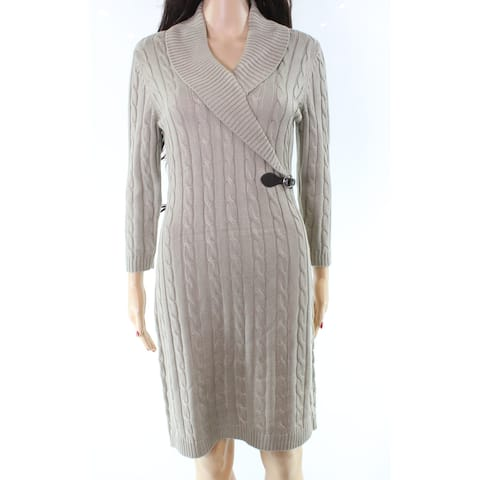 f46ff54e2db Calvin Klein Cable-Knit Womens Large Buckle Sweater Dress