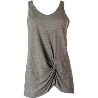Stateside Womens Heathered Knot-Front Tank Top - M