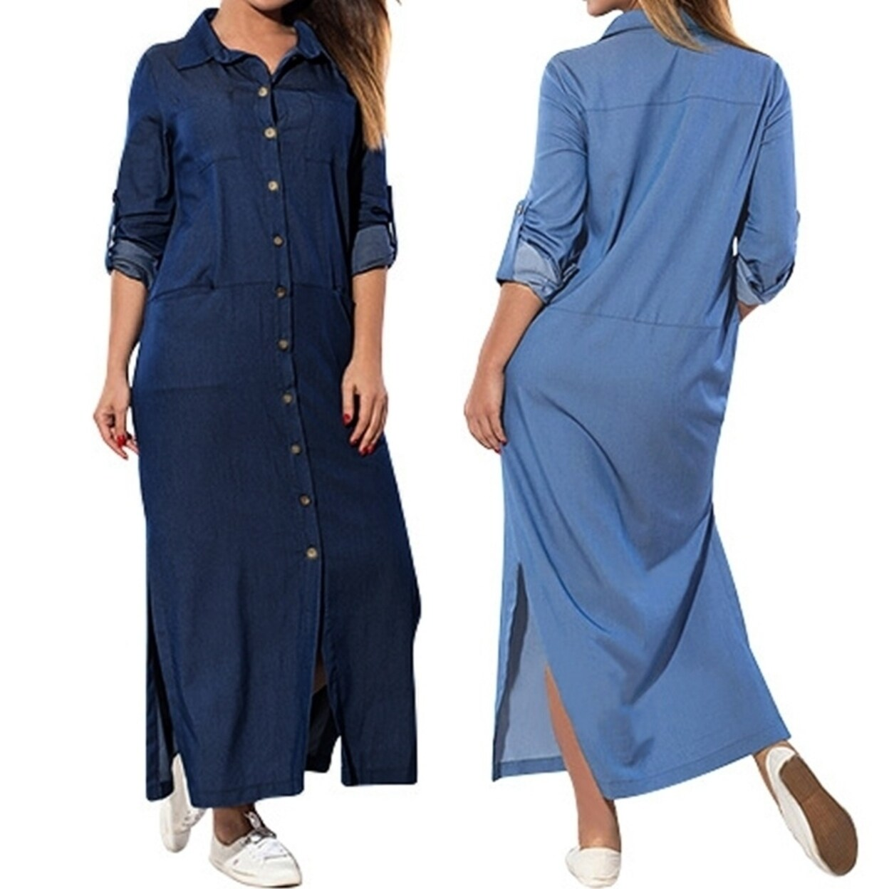 ZANZEA Womens Denim Blue V Neck Long Sleeve Maxi Split Dress Plus Size