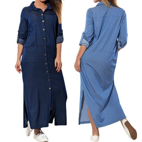 ZANZEA Womens Denim Blue V Neck Long Sleeve Maxi Split Dress Plus Size
