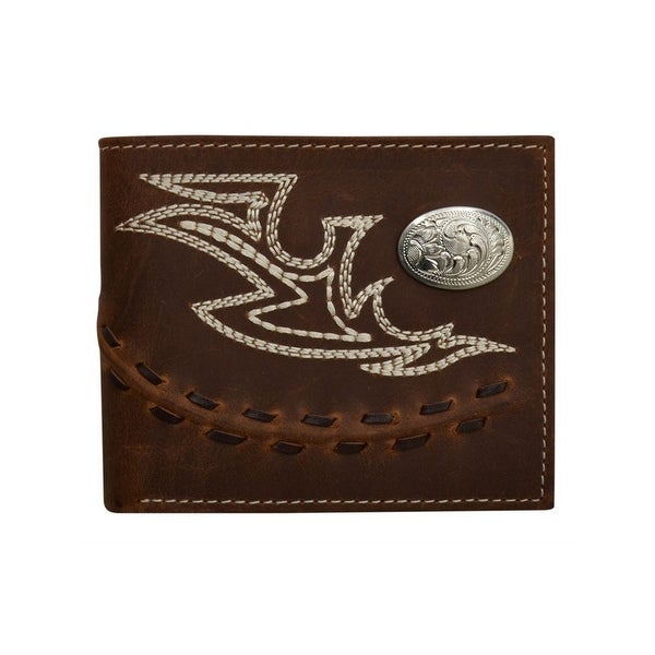 3D Western Wallet Mens Bifold Lacing Piping Moc Stitch Brown - One size