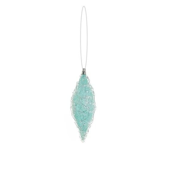"7"" Snowy Winter Ice Blue Glittered Shatterproof Christmas Finial Ornament"