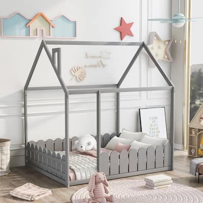 Full Pine Wood House Bed with Fence, for Kids,Teens,Girls,Boys