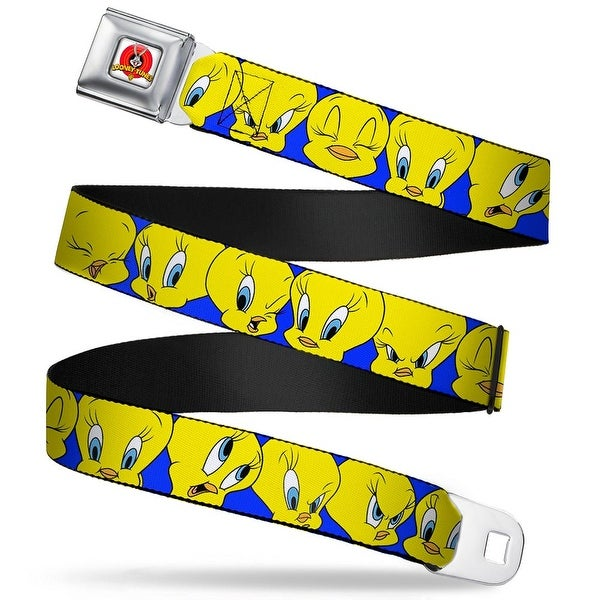 Looney Tunes Logo Full Color White Tweety Bird Close Up Expressions Royal Seatbelt Belt