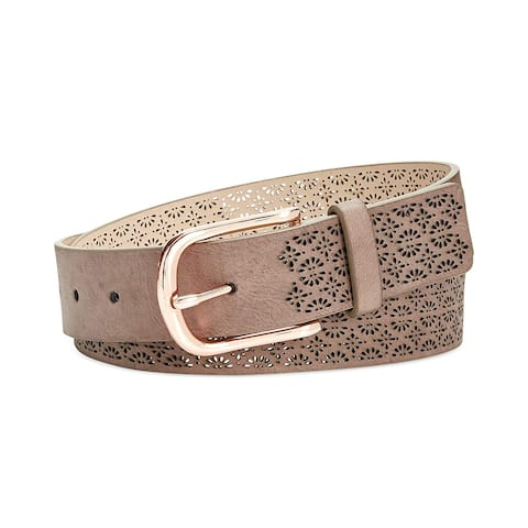 INC International Concepts Women's Perforated Belt Taupe Size Small - Grey